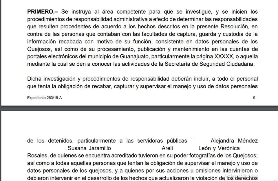 LA PDHGTO RECOMIENDA AL MUNICIPIO DE GTO CAPITAL INICIE INVESTIGACIÓN EN CONTRA DE FUNCIONARIOS DE LA SECRETARIA DE SEGURIDAD CIUDADANA DESDE EL COMISARIO HASTA EL DIRECTOR DE COMUNICACIÓN SOCIAL PARA LOS PROCEDIMIENTOS DE RESPONSABILIDAD ADMINISTRATIVA.