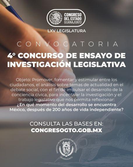 LANZA CONVOCATORIA EL CONGRESO DEL ESTADO DE GUANAJUATO PARA EL 4TO CONCURSO DE ENSAYO LEGISLATIVO.