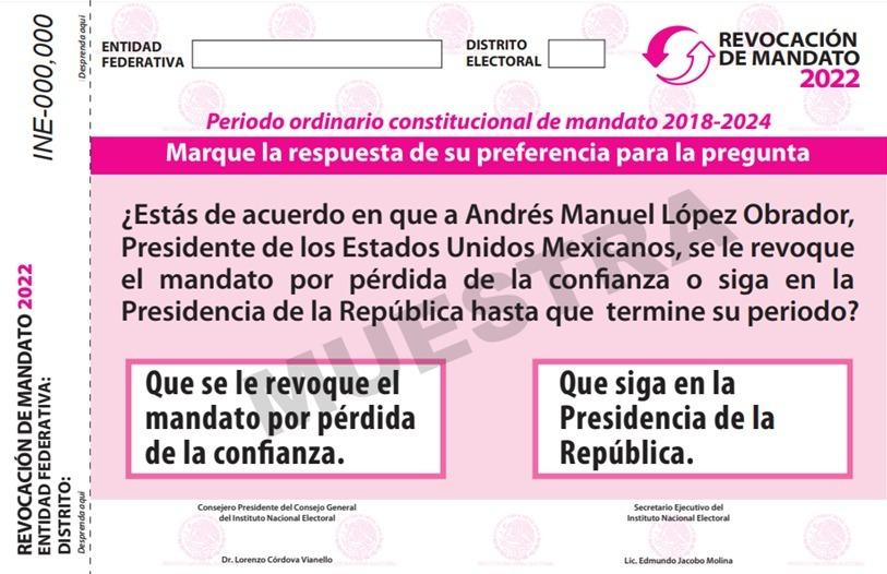 AVANZA INE EN EL DISEÑO DE LA PAPELETA Y MATERIALES PARA LA REVOCACIÓN DE MANDATO